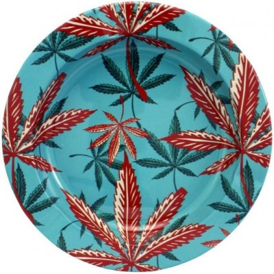 METAL TIN ASHTRAY - LEAVES...